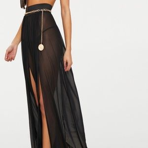 Black swim cover up maxi skirt